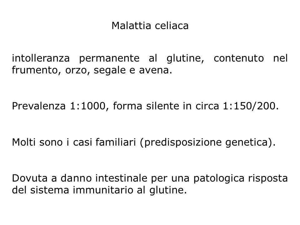 intolleranza permanente al glutine, contenuto nel frumento, orzo, segale e avena. Prevalenza 1:1000, forma silente in circa 1:150/200. Molti sono i ca