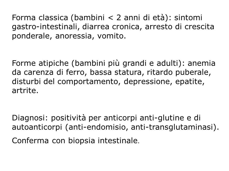 Forma classica (bambini < 2 anni di età): sintomi gastro-intestinali, diarrea cronica, arresto di crescita ponderale, anoressia, vomito. Forme atipich