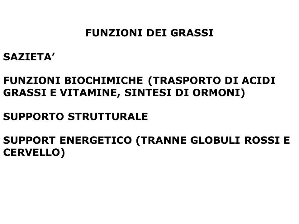 FUNZIONI DEI GRASSI SAZIETA FUNZIONI BIOCHIMICHE (TRASPORTO DI ACIDI GRASSI E VITAMINE, SINTESI DI ORMONI) SUPPORTO STRUTTURALE SUPPORT ENERGETICO (TR