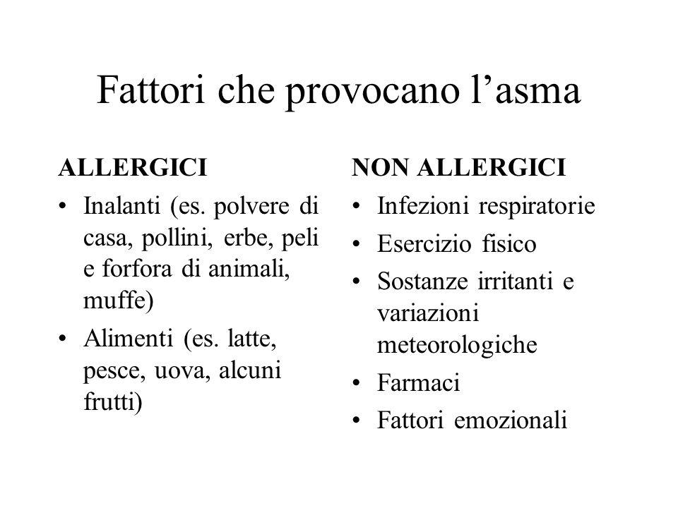 Fattori che provocano lasma ALLERGICI Inalanti (es. polvere di casa, pollini, erbe, peli e forfora di animali, muffe) Alimenti (es. latte, pesce, uova