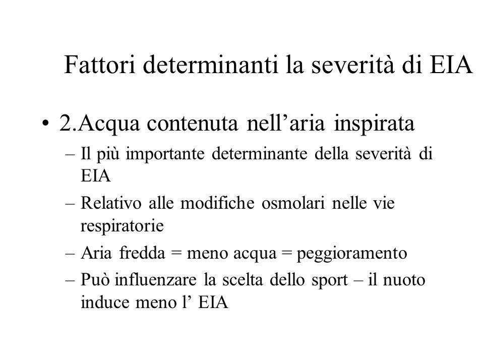 Fattori determinanti la severità di EIA 2.Acqua contenuta nellaria inspirata –Il più importante determinante della severità di EIA –Relativo alle modi