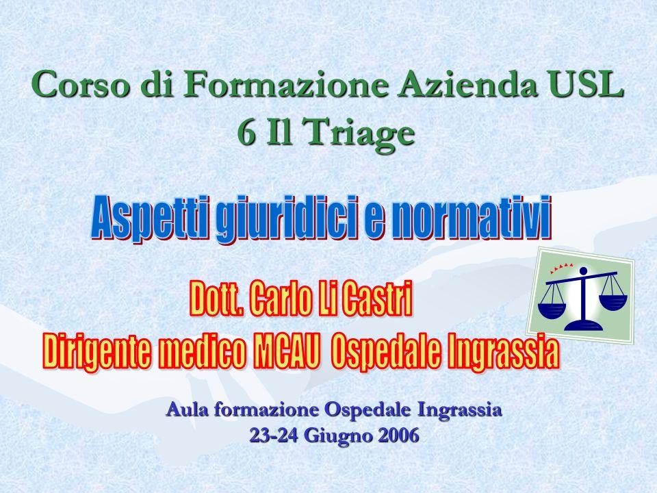 Corso di Formazione Azienda USL 6 Il Triage Aula formazione Ospedale Ingrassia 23-24 Giugno 2006