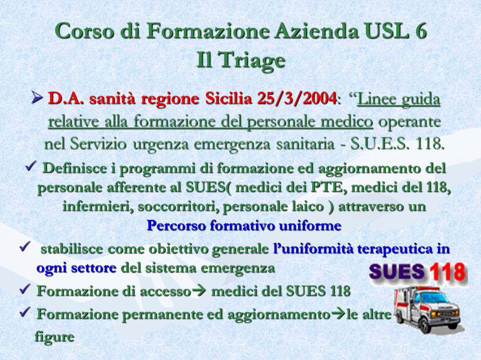 D.A. sanità regione Sicilia 25/3/2004: Linee guida relative alla formazione del personale medico operante nel Servizio urgenza emergenza sanitaria - S