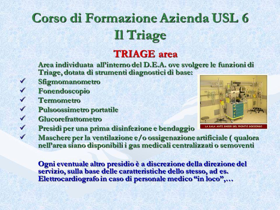 TRIAGE area Area individuata allinterno del D.E.A. ove svolgere le funzioni di Triage, dotata di strumenti diagnostici di base: Area individuata allin