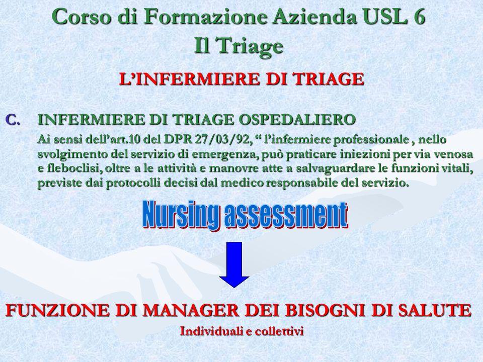 LINFERMIERE DI TRIAGE C.INFERMIERE DI TRIAGE OSPEDALIERO Ai sensi dellart.10 del DPR 27/03/92, linfermiere professionale, nello svolgimento del serviz