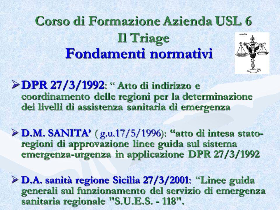Fondamenti normativi DPR 27/3/1992: Atto di indirizzo e coordinamento delle regioni per la determinazione dei livelli di assistenza sanitaria di emerg