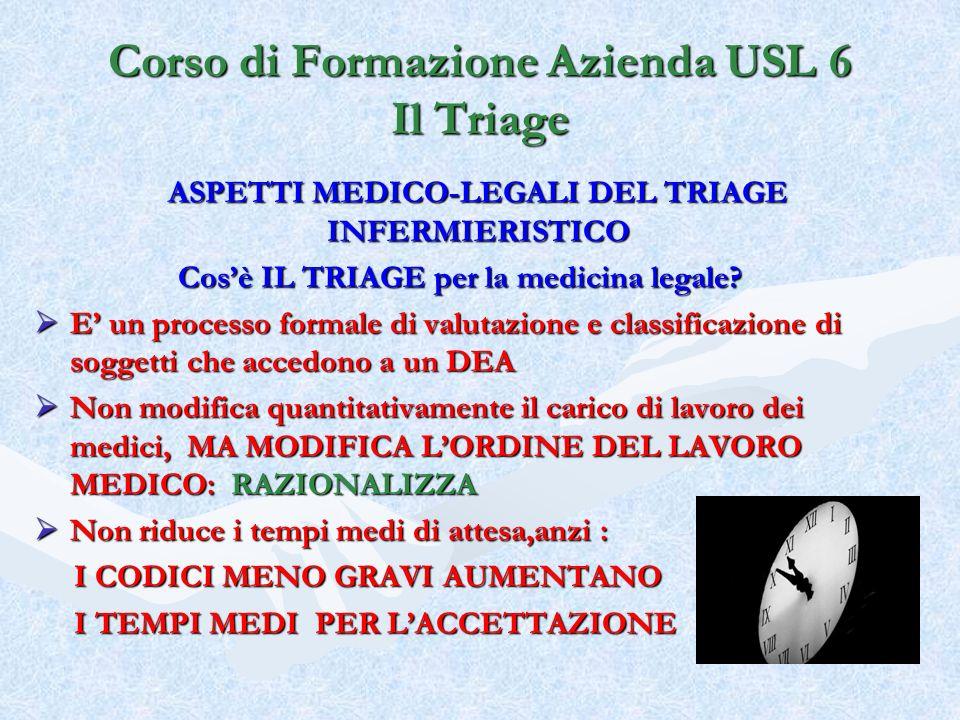 ASPETTI MEDICO-LEGALI DEL TRIAGE INFERMIERISTICO Cosè IL TRIAGE per la medicina legale? E un processo formale di valutazione e classificazione di sogg