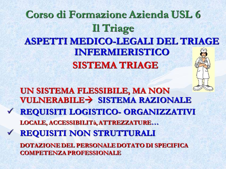Corso di Formazione Azienda USL 6 Il Triage ASPETTI MEDICO-LEGALI DEL TRIAGE INFERMIERISTICO SISTEMA TRIAGE UN SISTEMA FLESSIBILE, MA NON VULNERABILE