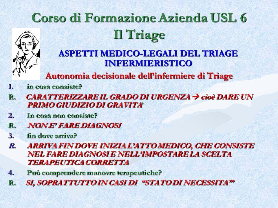 Corso di Formazione Azienda USL 6 Il Triage ASPETTI MEDICO-LEGALI DEL TRIAGE INFERMIERISTICO Autonomia decisionale dellinfermiere di Triage 1.in cosa