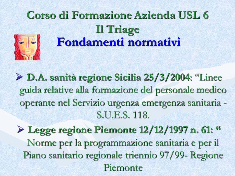 Fondamenti normativi D.A. sanità regione Sicilia 25/3/2004: Linee guida relative alla formazione del personale medico operante nel Servizio urgenza em