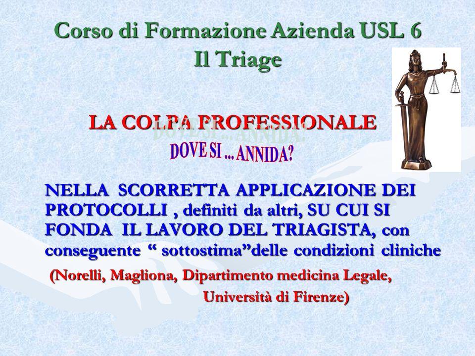 Corso di Formazione Azienda USL 6 Il Triage LA COLPA PROFESSIONALE NELLA SCORRETTA APPLICAZIONE DEI PROTOCOLLI, definiti da altri, SU CUI SI FONDA IL