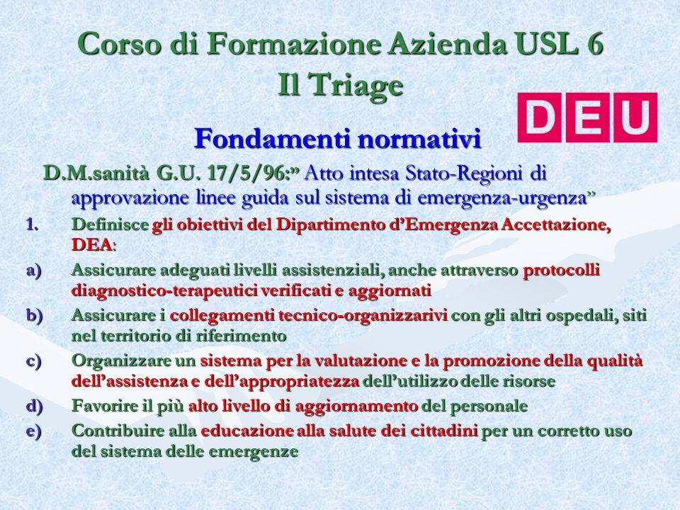 Fondamenti normativi D.M.sanità G.U. 17/5/96: Atto intesa Stato-Regioni di approvazione linee guida sul sistema di emergenza-urgenza D.M.sanità G.U. 1