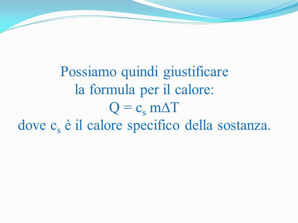 Possiamo quindi giustificare la formula per il calore: Q = c s m dove c s è il calore specifico della sostanza.