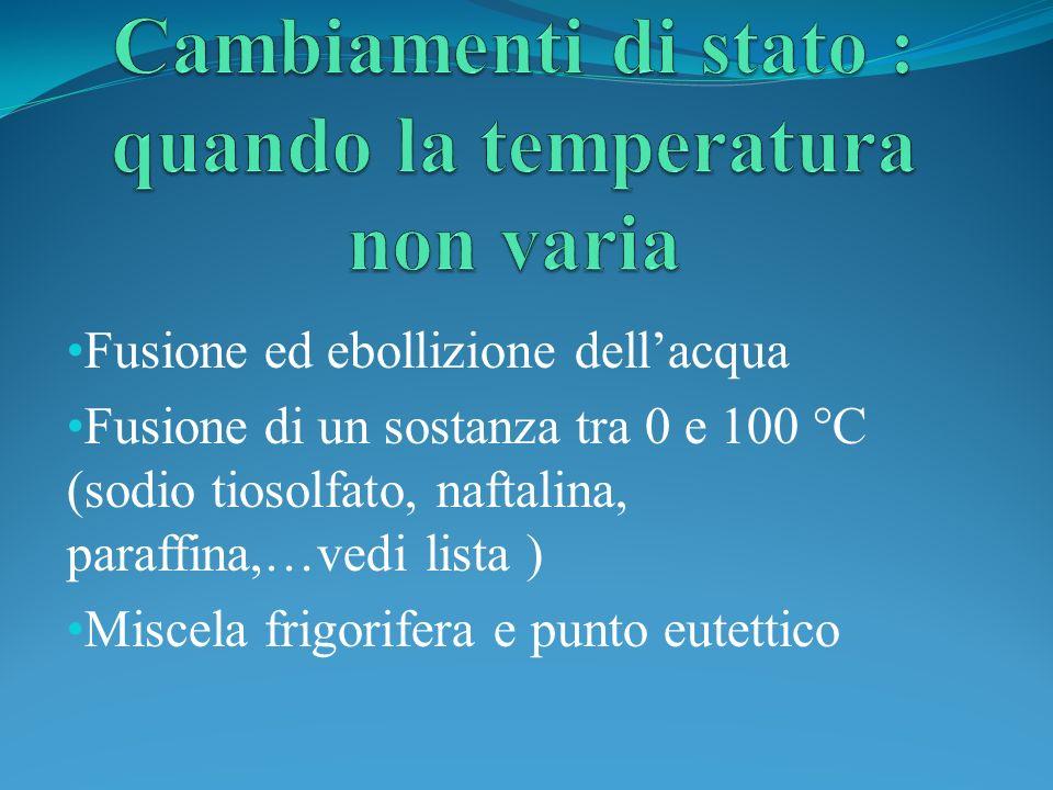 Fusione ed ebollizione dellacqua Fusione di un sostanza tra 0 e 100 °C (sodio tiosolfato, naftalina, paraffina,…vedi lista ) Miscela frigorifera e pun