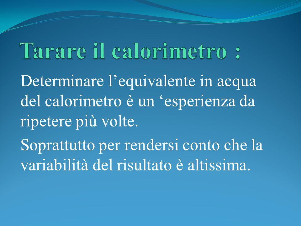 Determinare lequivalente in acqua del calorimetro è un esperienza da ripetere più volte. Soprattutto per rendersi conto che la variabilità del risulta