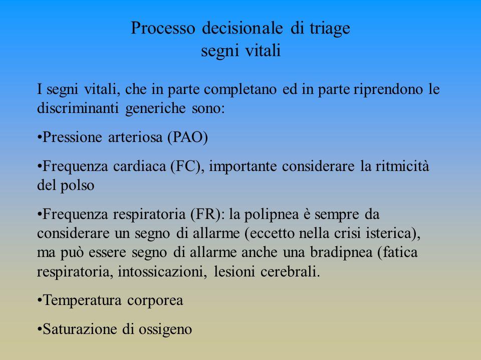Processo decisionale di triage segni vitali I segni vitali, che in parte completano ed in parte riprendono le discriminanti generiche sono: Pressione