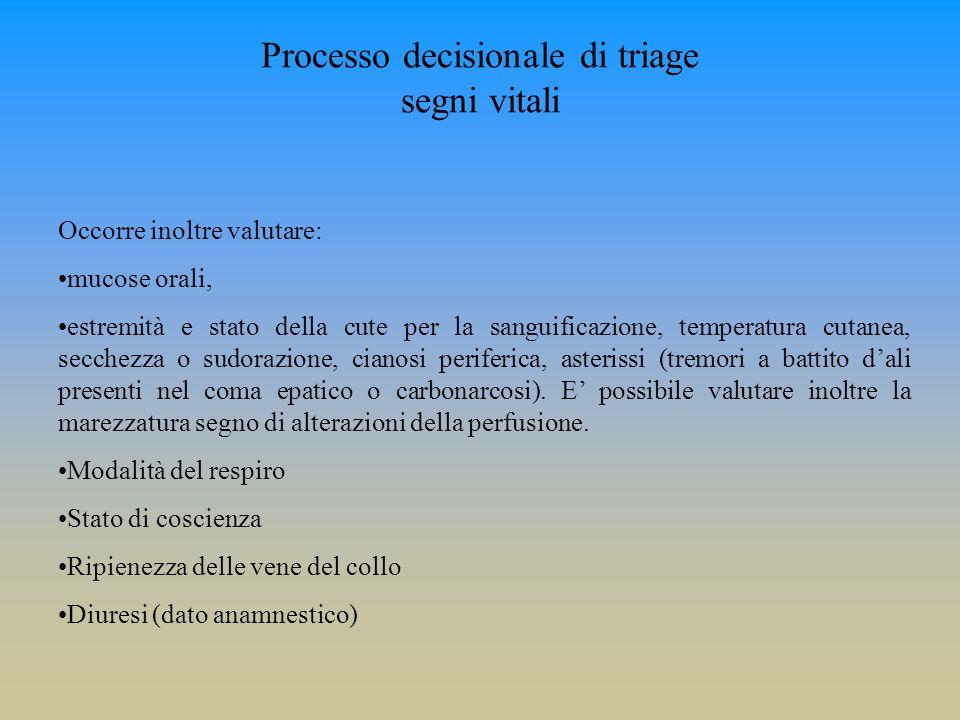 Processo decisionale di triage segni vitali Occorre inoltre valutare: mucose orali, estremità e stato della cute per la sanguificazione, temperatura c