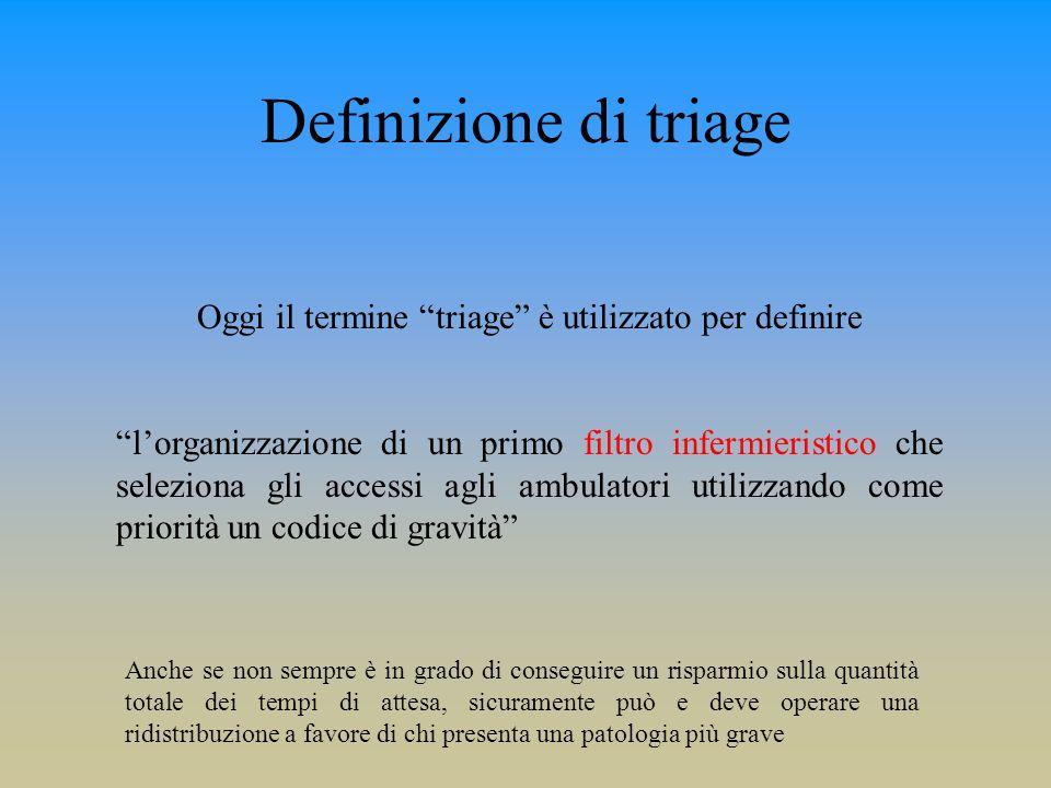 Oggi il termine triage è utilizzato per definire lorganizzazione di un primo filtro infermieristico che seleziona gli accessi agli ambulatori utilizza