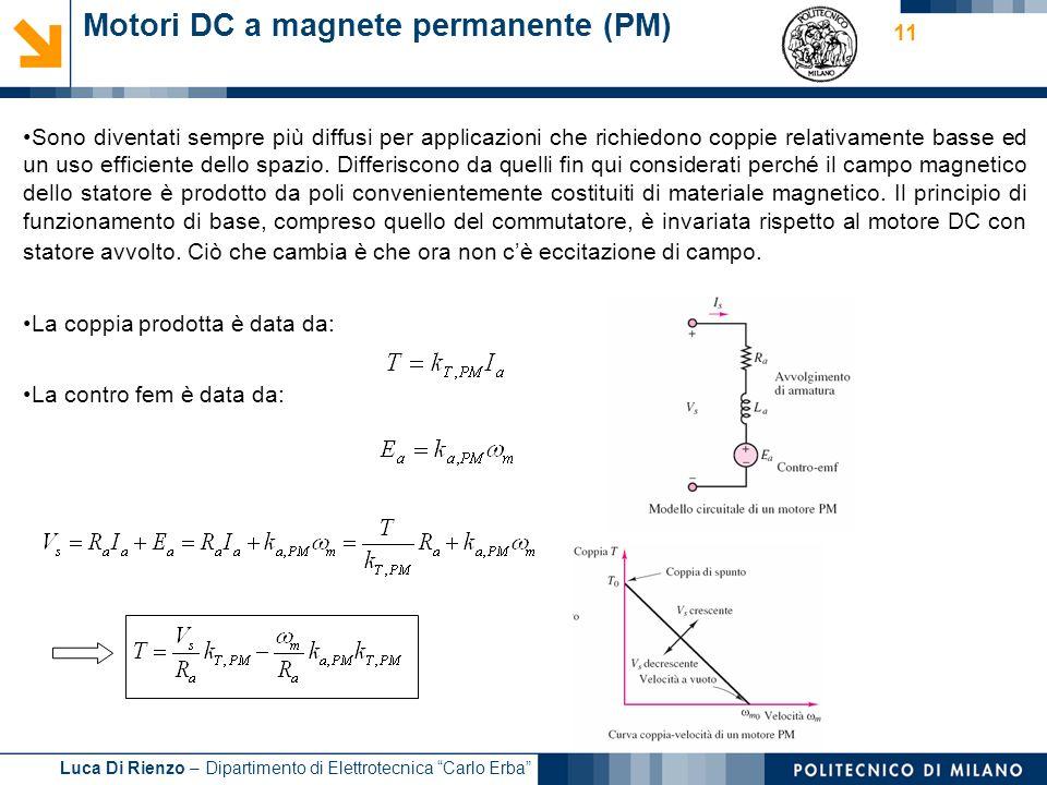 Luca Di Rienzo – Dipartimento di Elettrotecnica Carlo Erba 11 Motori DC a magnete permanente (PM) Sono diventati sempre più diffusi per applicazioni c