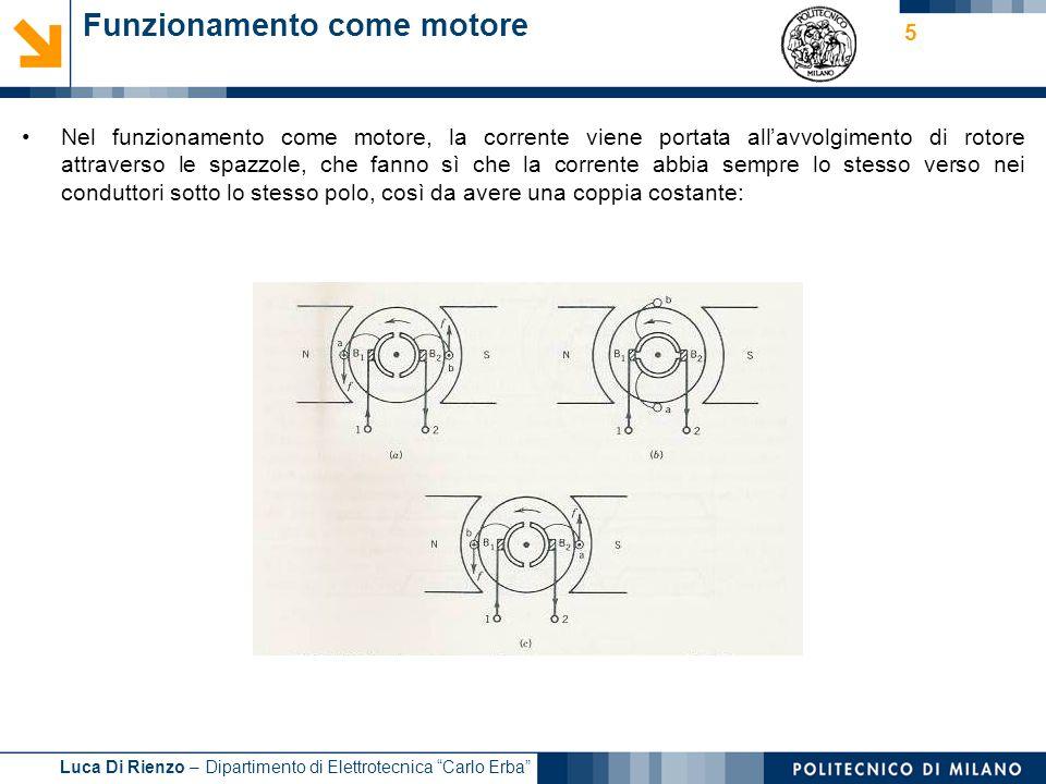 Luca Di Rienzo – Dipartimento di Elettrotecnica Carlo Erba 5 Funzionamento come motore Nel funzionamento come motore, la corrente viene portata allavv