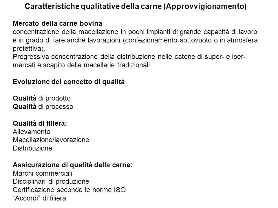 Caratteristiche qualitative della carne (Approvvigionamento) Mercato della carne bovina concentrazione della macellazione in pochi impianti di grande