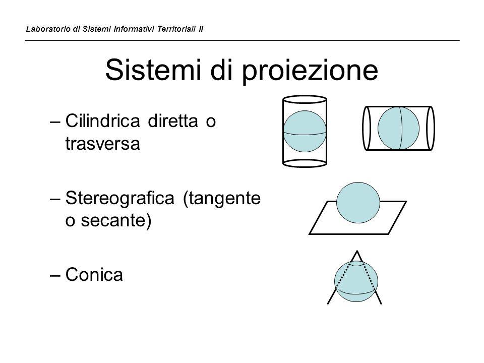 Sistemi di proiezione –Cilindrica diretta o trasversa –Stereografica (tangente o secante) –Conica Laboratorio di Sistemi Informativi Territoriali II
