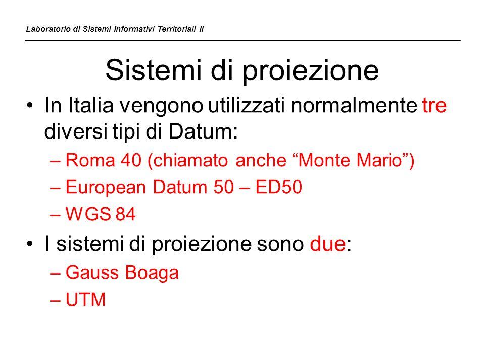 Sistemi di proiezione In Italia vengono utilizzati normalmente tre diversi tipi di Datum: –Roma 40 (chiamato anche Monte Mario) –European Datum 50 – E