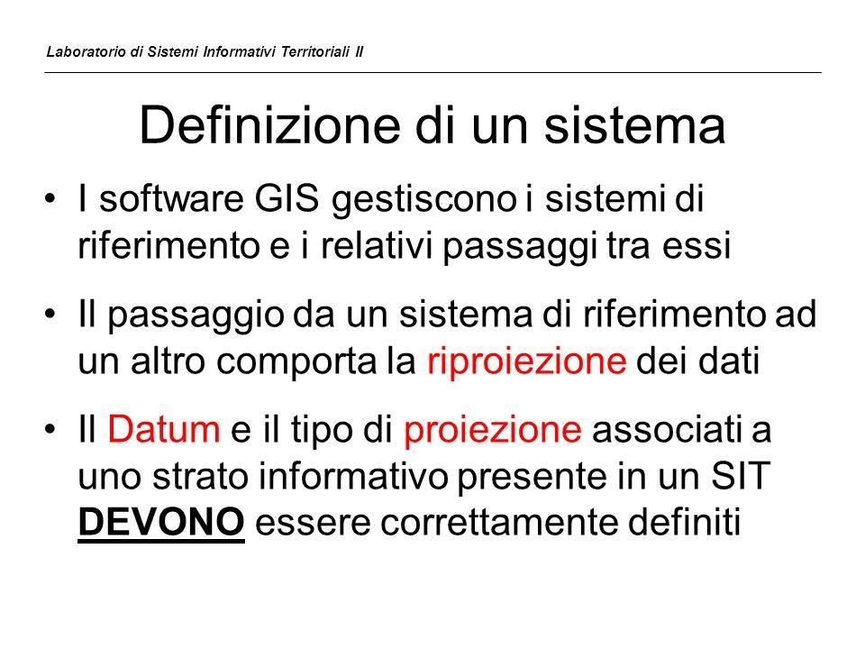 Definizione di un sistema I software GIS gestiscono i sistemi di riferimento e i relativi passaggi tra essi Il passaggio da un sistema di riferimento