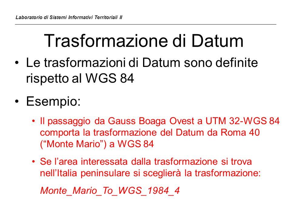 Trasformazione di Datum Laboratorio di Sistemi Informativi Territoriali II Le trasformazioni di Datum sono definite rispetto al WGS 84 Esempio: Il pas