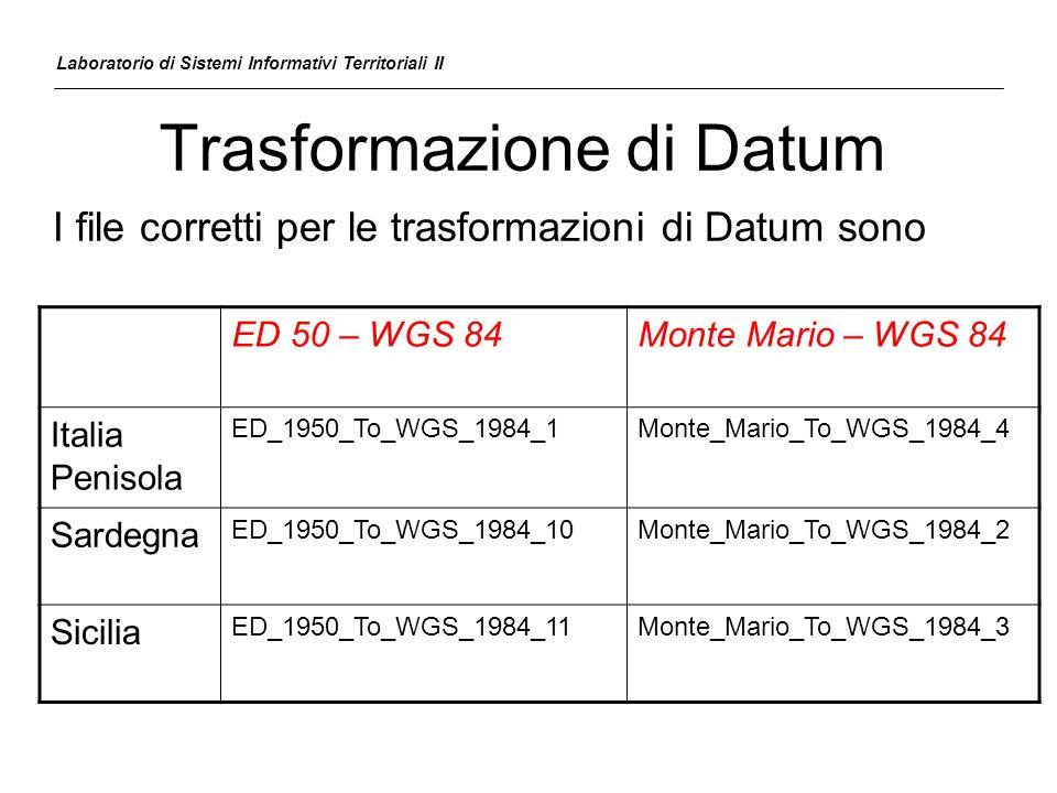 Trasformazione di Datum Laboratorio di Sistemi Informativi Territoriali II ED 50 – WGS 84Monte Mario – WGS 84 Italia Penisola ED_1950_To_WGS_1984_1Mon