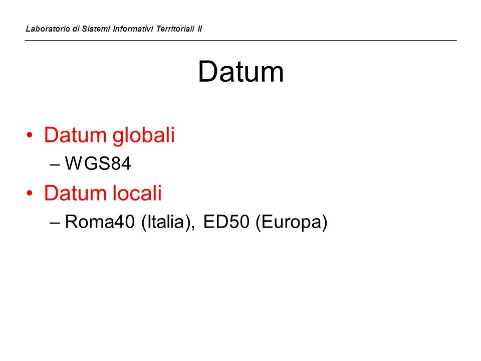 Datum Laboratorio di Sistemi Informativi Territoriali II Datum globali –WGS84 Datum locali –Roma40 (Italia), ED50 (Europa)