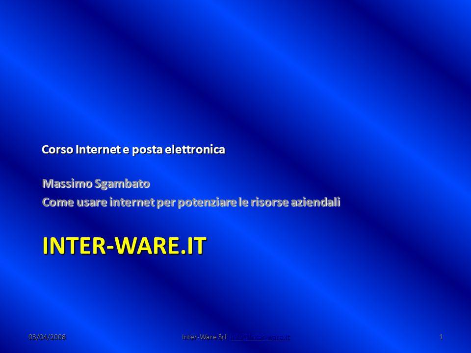 Inter-Ware.it 03/04/200812 Inter-Ware Srl info@Inter-ware.it Protocollo HTTP Protocollo HTTP – HTTP è l acronimo di Hyper Text Transfer Protocol (protocollo di trasferimento di un ipertesto) – È il principale sistema per la trasmissione di informazioni sul web – insieme con l HTML e gli URL costituisce il nucleo base del World-Wide Web Richiesta/Risposta Richiesta/Risposta – L HTTP funziona su un meccanismo richiesta/risposta (client/server) – il client esegue una richiesta ed il server restituisce la risposta – nell uso comune il client corrisponde al browser ed il server al sito web – vi sono quindi due tipi di messaggi HTTP: messaggi richiesta e messaggi risposta