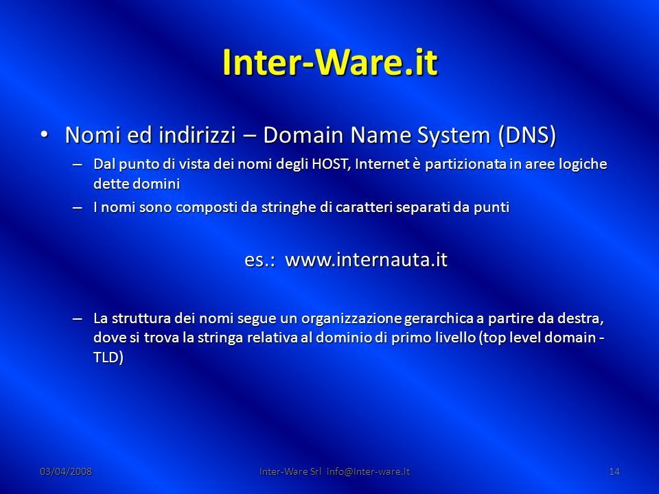 Inter-Ware.it 03/04/200814 Inter-Ware Srl info@Inter-ware.it Nomi ed indirizzi – Domain Name System (DNS) Nomi ed indirizzi – Domain Name System (DNS)