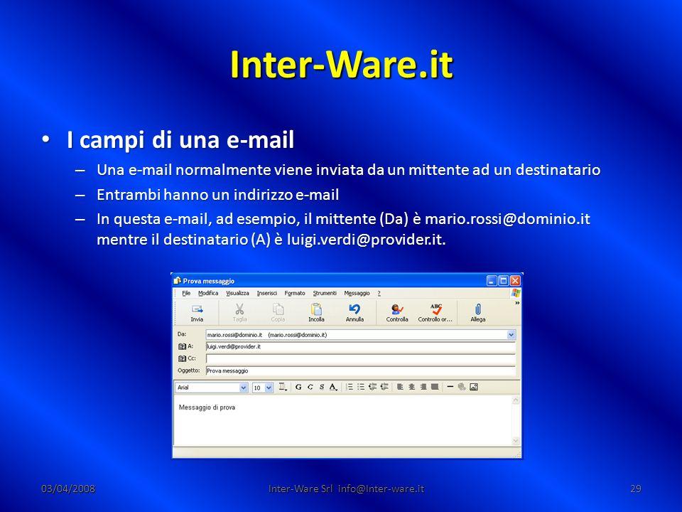 Inter-Ware.it 03/04/200829 Inter-Ware Srl info@Inter-ware.it I campi di una e-mail I campi di una e-mail – Una e-mail normalmente viene inviata da un