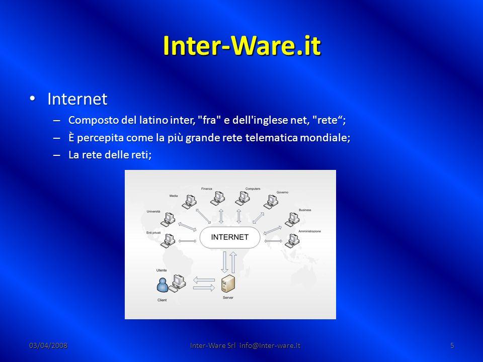 Inter-Ware.it 03/04/200836 Inter-Ware Srl info@Inter-ware.it Esercitazioni pratiche Ricerca di informazioni su internet Ricerca di informazioni su internet Compressione di un file da allegare ad un messaggio Compressione di un file da allegare ad un messaggio Invio di un messaggio con allegato (A: e CC:) Invio di un messaggio con allegato (A: e CC:) Apertura e salvataggio dellallegato Apertura e salvataggio dellallegato Risposta per confermare la corretta ricezione Risposta per confermare la corretta ricezione