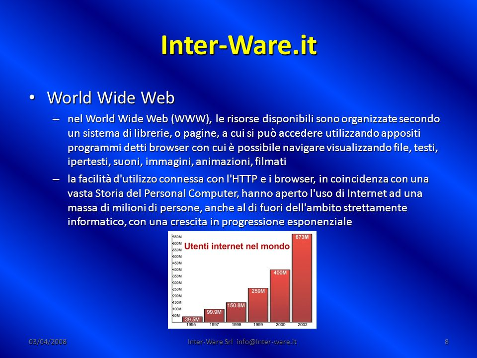 Inter-Ware.it 03/04/200819 Inter-Ware Srl info@Inter-ware.it Il browser Il browser – Un web browser (chiamato talvolta navigatore) è un programma in grado di interpretare il codice HTML e visualizzarlo in forma di ipertesto.