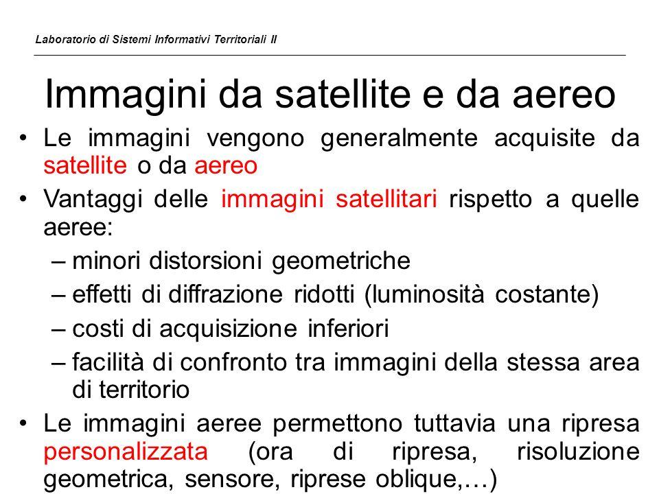 Immagini da satellite e da aereo Il minore angolo di vista del satellite e la maggiore stabilità della sua orbita riducono le distorsioni geometriche presenti nellimmagine 60° 2° Laboratorio di Sistemi Informativi Territoriali II