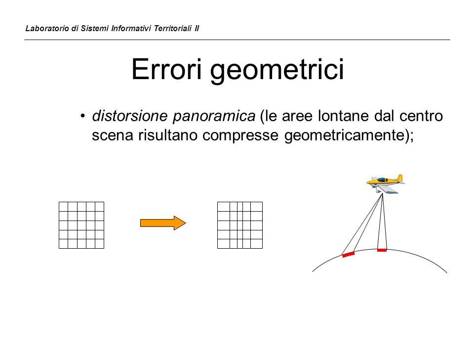 Errori geometrici –Errori accidentali dipendenti dal movimento della piattaforma (aereo) e dalla morfologia del terreno; vengono corretti tramite punti di controllo a terra variazioni di quota Laboratorio di Sistemi Informativi Territoriali II