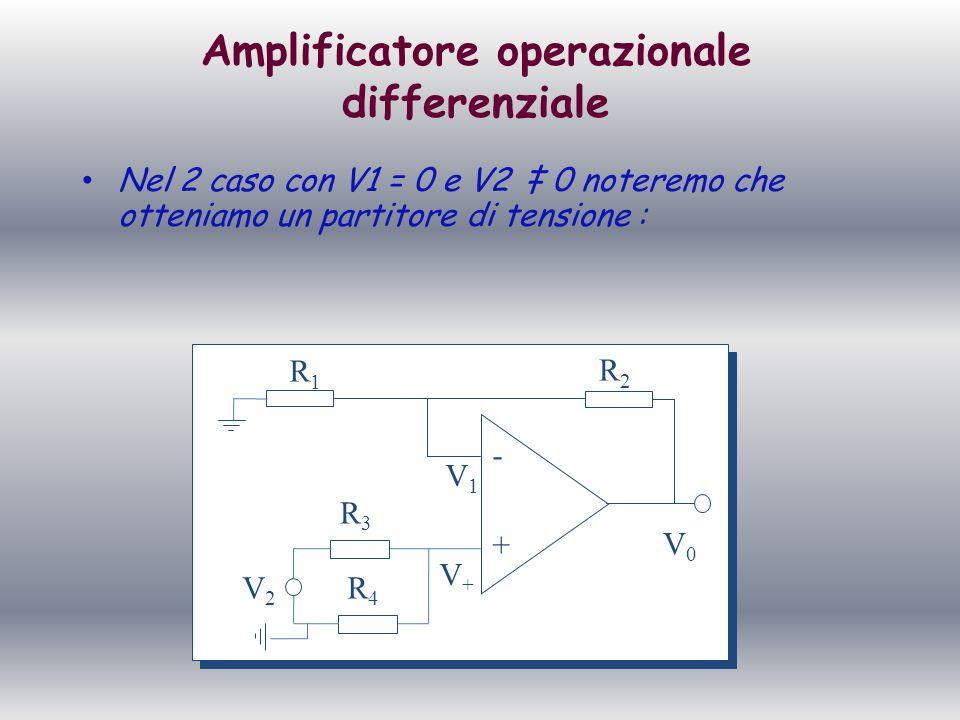 Amplificatore operazionale differenziale Nel 2 caso con V1 = 0 e V2 0 noteremo che otteniamo un partitore di tensione : + - R1R1 R2R2 V+V+ V1V1 V0V0 R
