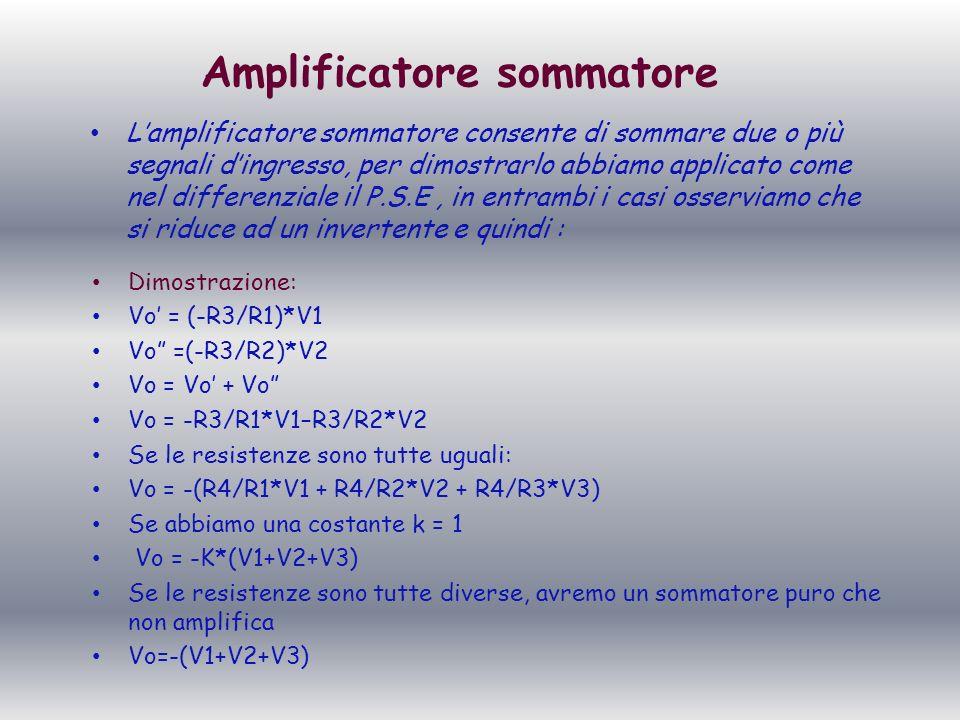 Amplificatore sommatore Lamplificatore sommatore consente di sommare due o più segnali dingresso, per dimostrarlo abbiamo applicato come nel differenz