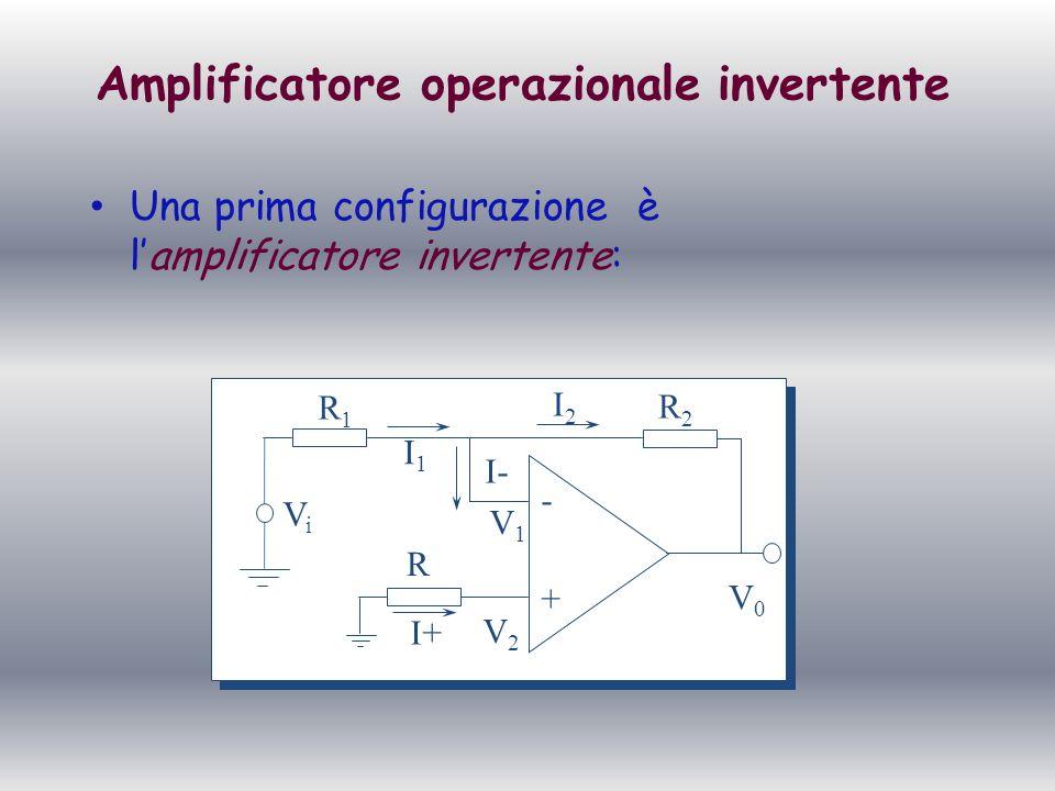 Amplificatore invertente Lamplificatore invertente, applicando un segnale in ingresso, lo amplifica di un fattore R 2 /R 1.