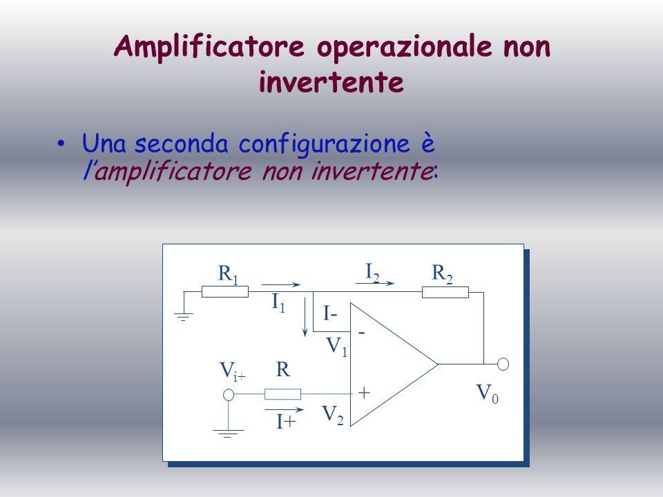 Amplificatore operazionale non invertente Una seconda configurazione è lamplificatore non invertente: + - R1R1 R2R2 R V2V2 V1V1 I1I1 I2I2 I- I+ V0V0 V