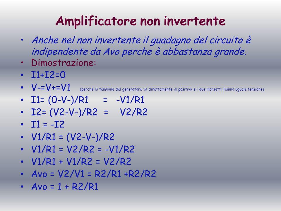 Amplificatore non invertente Anche nel non invertente il guadagno del circuito è indipendente da Avo perche è abbastanza grande. Dimostrazione: I1+I2=