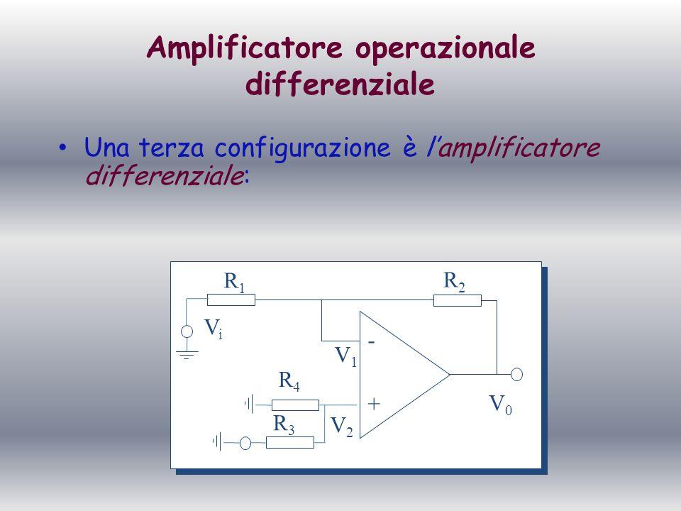 Amplificatore operazionale differenziale Per dimostrarlo basta applicare il P.S.E: 1 Caso : V1 0 e V2 = 0; Noteremo che si riduce ad un invertente e quindi Vo=(-R2/R1)*V1 + - R1R1 R2R2 V2V2 V1V1 V0V0 ViVi R4R4