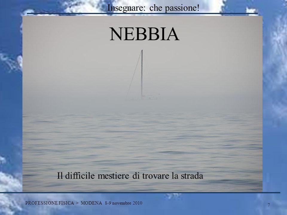 7 PROFESSIONE FISICA > MODENA 8-9 novembre 2010 NEBBIA Il difficile mestiere di trovare la strada Insegnare: che passione!
