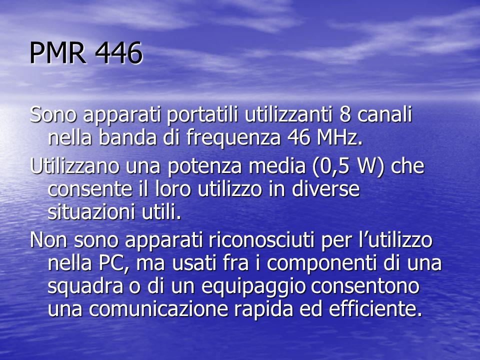 PMR 446 Sono apparati portatili utilizzanti 8 canali nella banda di frequenza 46 MHz. Utilizzano una potenza media (0,5 W) che consente il loro utiliz