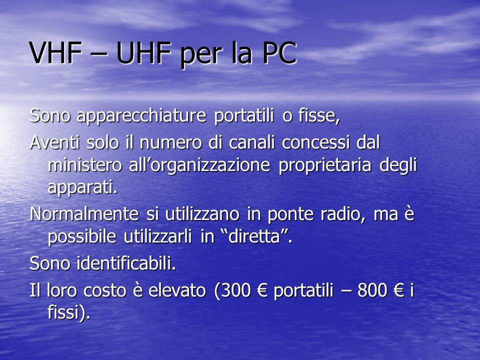 VHF – UHF per la PC Sono apparecchiature portatili o fisse, Aventi solo il numero di canali concessi dal ministero allorganizzazione proprietaria degli apparati.