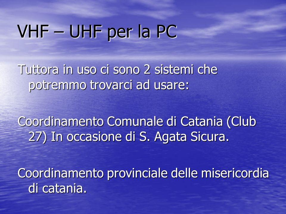VHF – UHF per la PC Tuttora in uso ci sono 2 sistemi che potremmo trovarci ad usare: Coordinamento Comunale di Catania (Club 27) In occasione di S. Ag