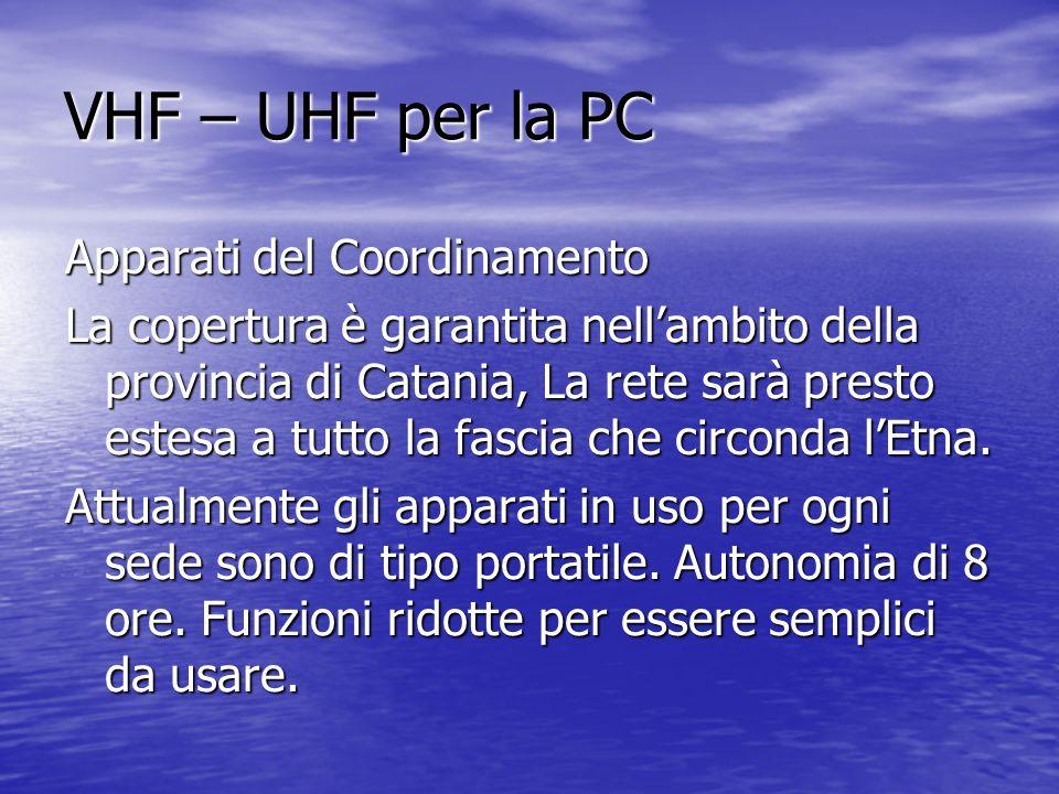 VHF – UHF per la PC Apparati del Coordinamento La copertura è garantita nellambito della provincia di Catania, La rete sarà presto estesa a tutto la f