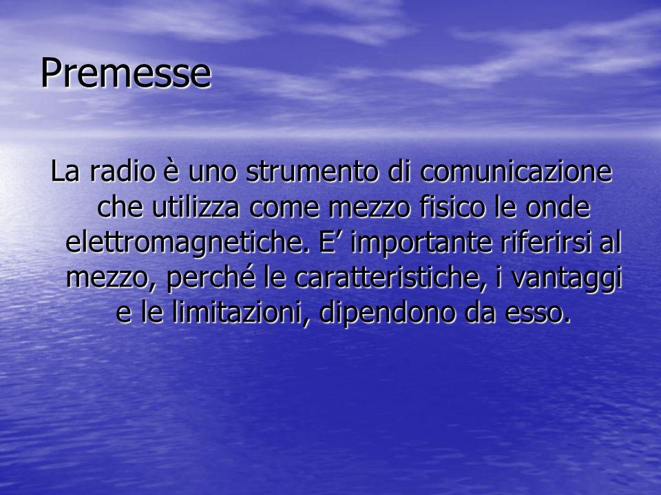 Premesse La radio è uno strumento di comunicazione che utilizza come mezzo fisico le onde elettromagnetiche. E importante riferirsi al mezzo, perché l